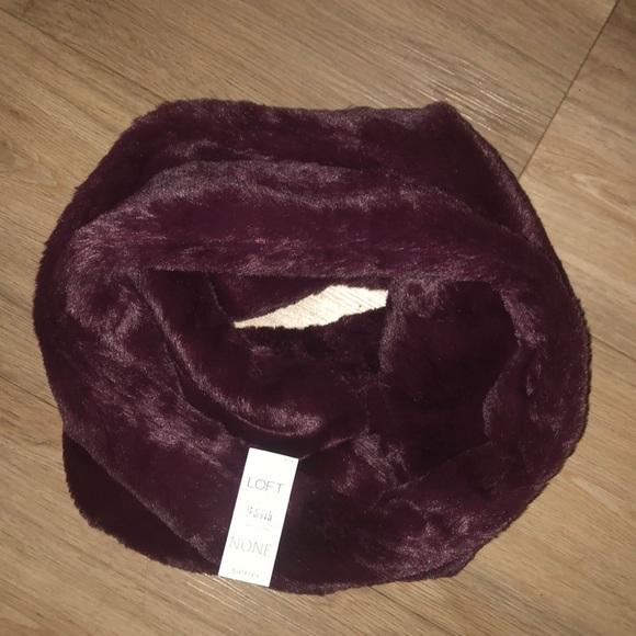 LOFT Accessories - Burgundy faux-fur infinity scarf